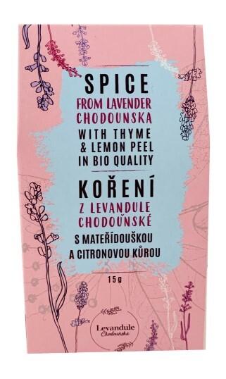 Zobrazit detail výrobku BIO Levandule Chodouňská BIO koření z tradiční české mateřídoušky, citronové trávy a Levandule Chodouňské 15 g