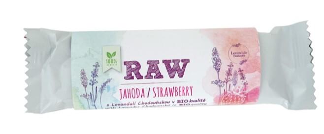 Zobrazit detail výrobku BIO Levandule Chodouňská BIO RAW jahodová tyčinka s Levandulí Chodouňskou 50 g