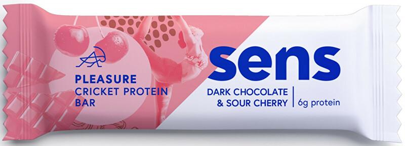 SENS SENS Pleasure Protein tyčinka s cvrččí moukou - Tmavá čokoláda & Višeň 40 g