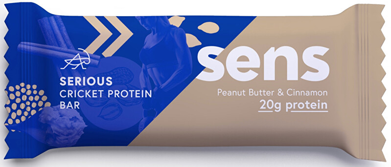 Zobrazit detail výrobku SENS SENS Serious Protein tyčinka s cvrččí moukou - Arašídové máslo & Skořice 60 g
