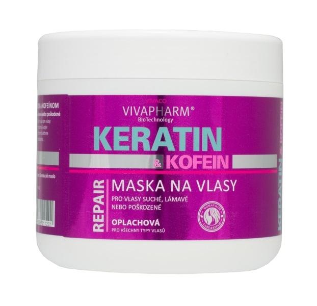 Vivapharm Keratínová regeneračná vlasová maska s kofeínom pre ženy 600 ml