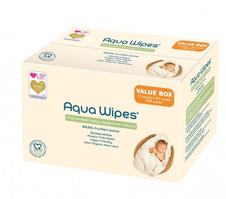 Zobrazit detail výrobku Aqua Wipes EKO dětské vlhčené ubrousky, 12 x 64 ks