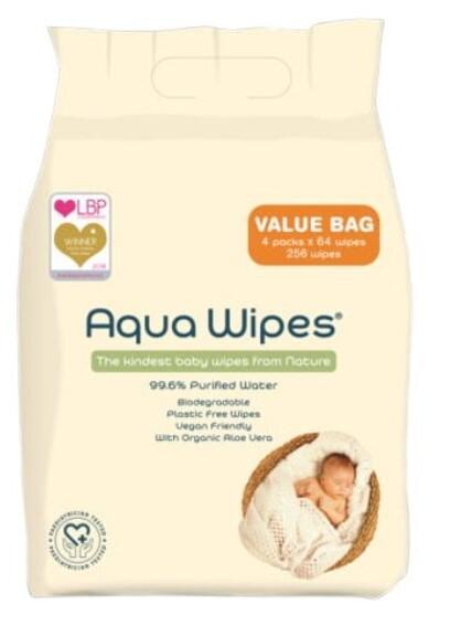Zobrazit detail výrobku Aqua Wipes EKO dětské vlhčené ubrousky, 4 x 64 ks