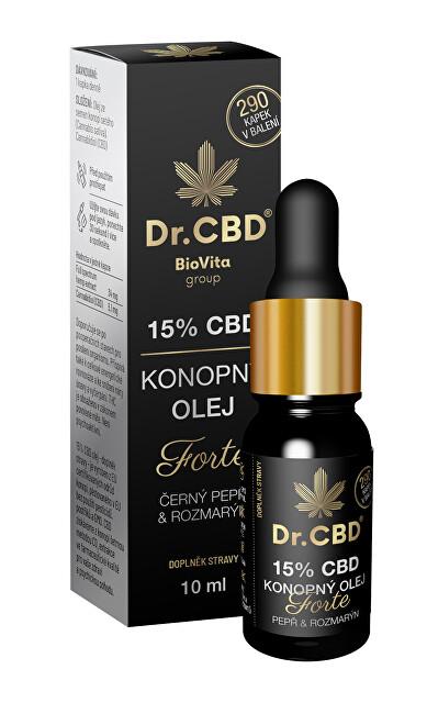 Zobrazit detail výrobku Dr. CBD 15% CBD konopný olej Forte s černým pepřem a rozmarýnem 10 ml