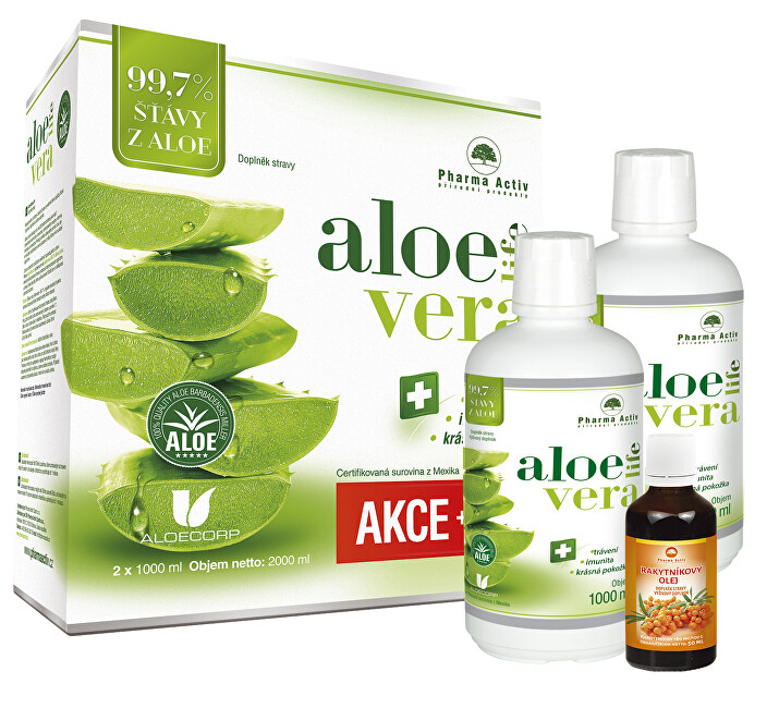 Zobrazit detail výrobku Pharma Activ Akční SET Aloe Vera Life 1000 ml 1+1 s příbalem 100% Rakytníkový olej 50 ml
