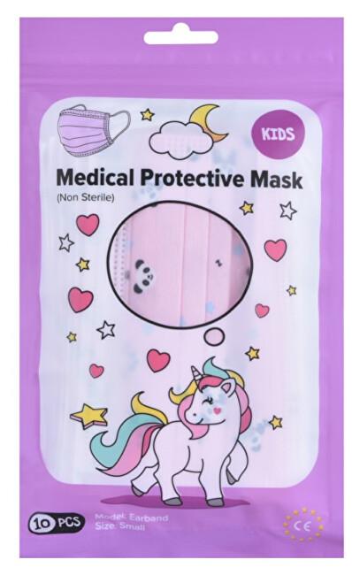 Zobrazit detail výrobku Pharma Activ Rouška ústenka MEDICAL 3-vrstvá jednorázová jednorázová 10 ks Dívčí - růžová