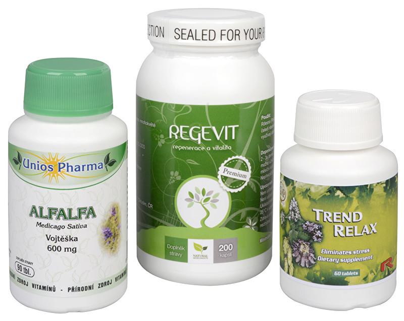 Zobrazit detail výrobku Sada Na Žaludek - Alfalfa 600 mg 90 tbl. + Natural Medicaments Regevit 200 tbl. + Trend Relax 90 tbl.