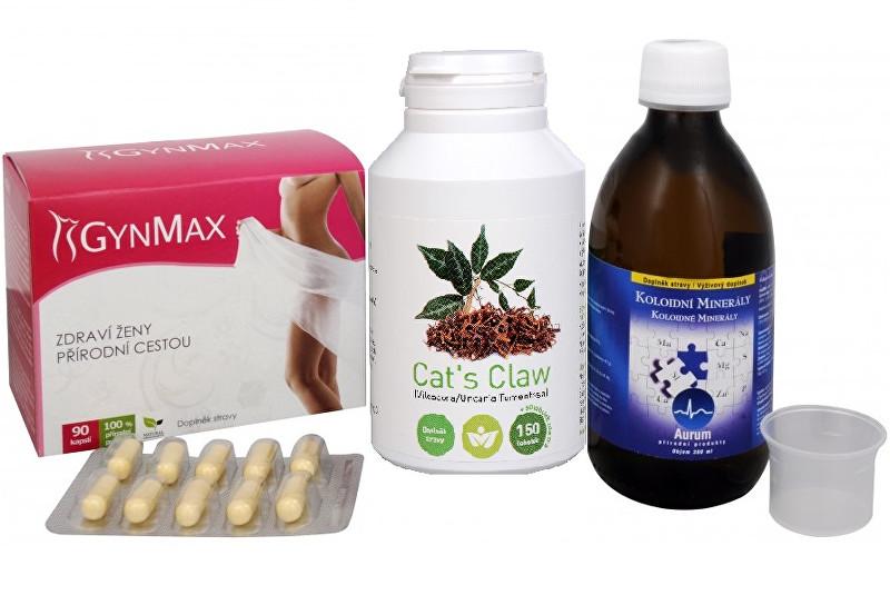 Zobrazit detail výrobku Sada Na Ženské pohlavní orgány - Cat´s Claw (Uncaria tomentosa, Vilcacora) 150 tob. + 50 tob. ZDARMA + GynMax 90 kapslí + Koloidní minerály 300 ml