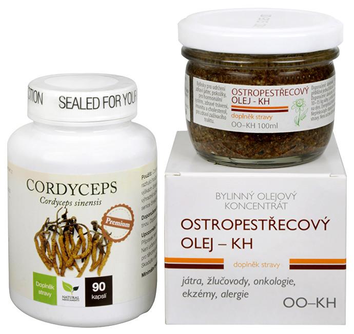 Doporučená kombinace produktů Na Játra - Cordyceps Premium + Ostropestřecový olej (kaše)