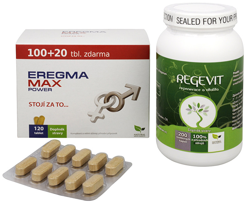 Zobrazit detail výrobku Sada Na Sexuální zdraví - Eregma MAX power 100 tbl. + 20 tbl. ZDARMA + Natural Medicaments Regevit 200 tbl.