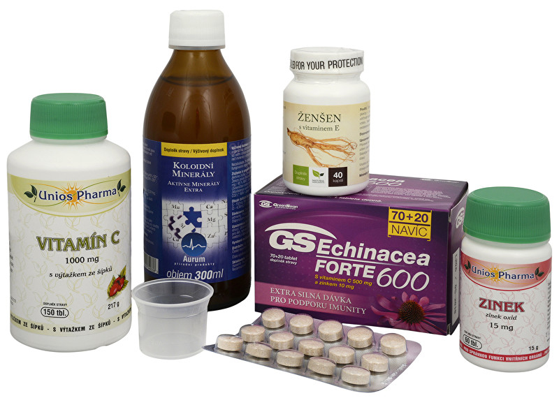 Doporučená kombinace produktů Na Imunitu - Koloidné minerály + GS Echinacea FORTE + Ženšen kórejský + Vitamín C 1000 so šípkami + Zinok ZADARMO