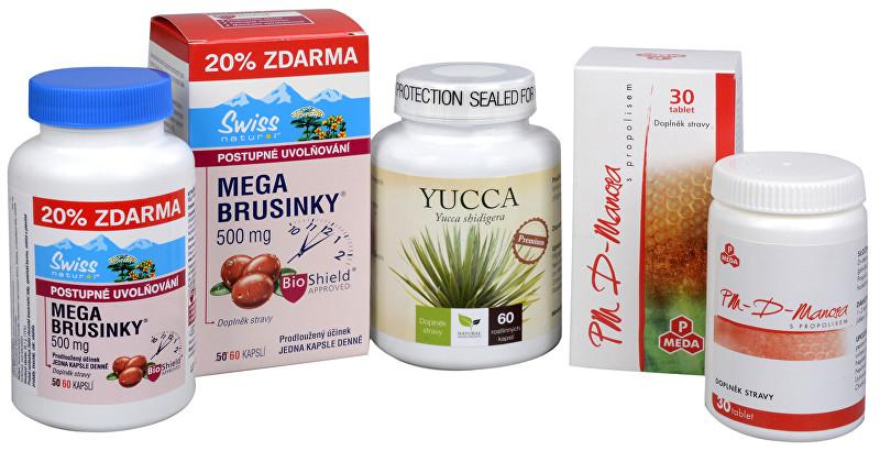Zobrazit detail výrobku Doporučená kombinace produktů Mega Brusinky 500 mg + PM D-Manosa s propolisem + Yucca