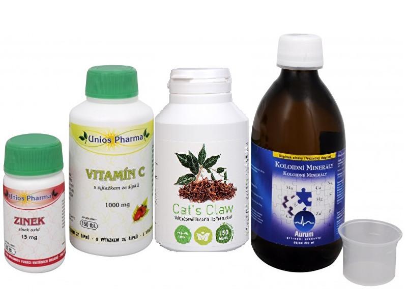 Zobrazit detail výrobku Sada Na Imunitu - Olimpex Cat´s Claw 150 tob. + Aurum Koloidní minerály 300 ml + Unios Pharma Vitamín C 1000 se šípkem 150 tbl. + Unios Pharma Zinek 15 mg