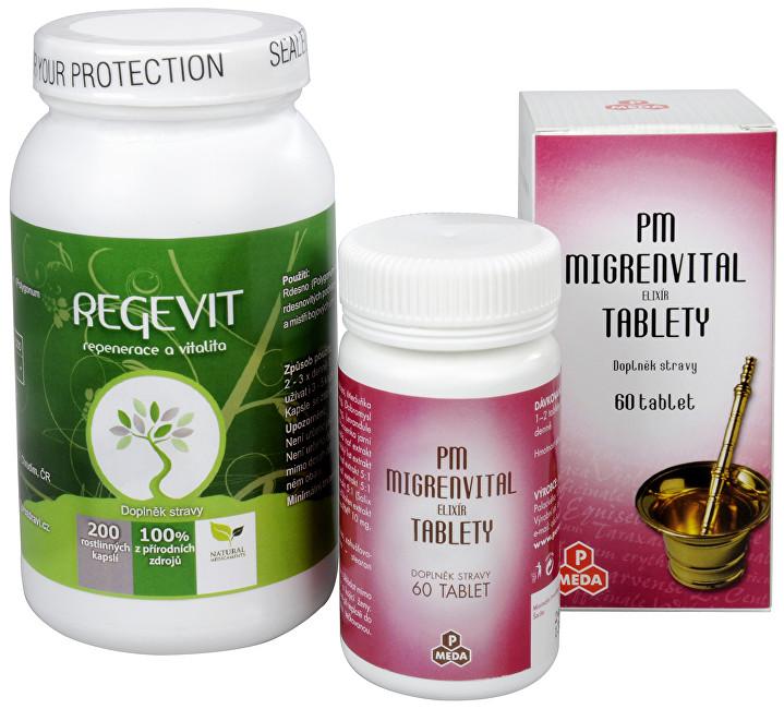 Zobrazit detail výrobku Sada Na Hlavu - Purus Meda PM Migrenvital elixír 60 tbl+ Natural Medicaments Regevit 200 kapslí
