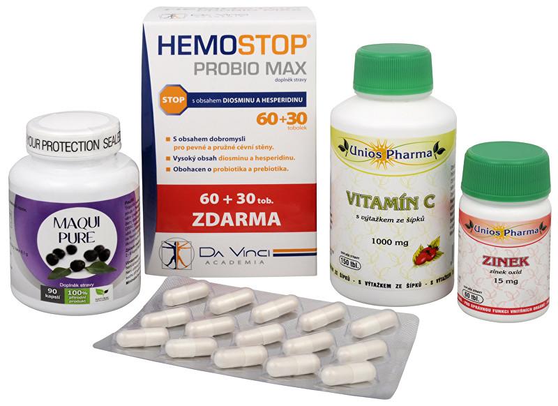 Zobrazit detail výrobku Sada Na Konečník - Maqui Pure 90 kapslí + HemoStop ProBio 60 + 30 tob + Unios Pharma Vitamín C 1000 mg se šípkem + Unios Pharma Zinek 15 mg ZDARMA