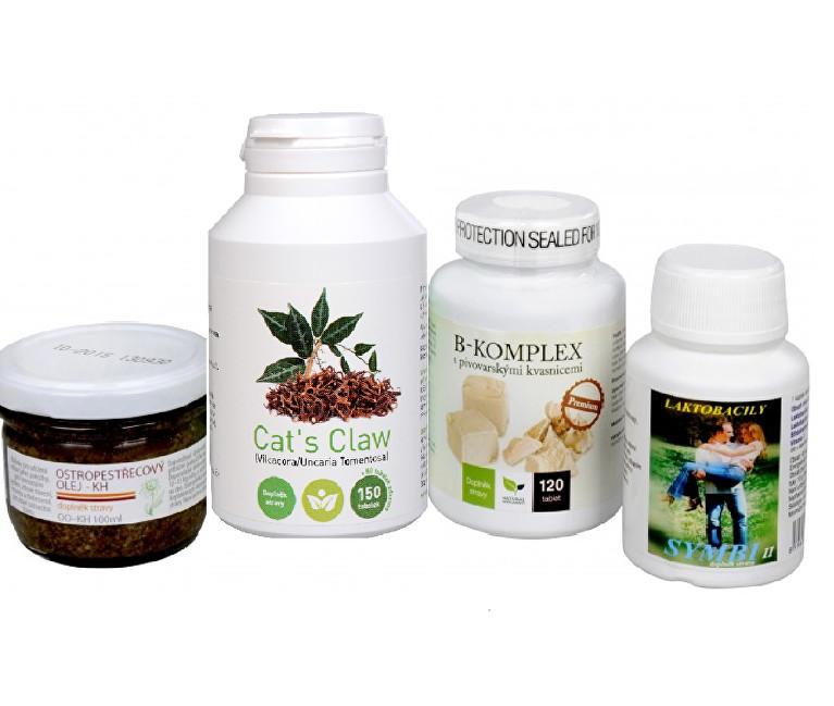 Zobrazit detail výrobku Sada Na Kůži I. -Olimpex Cat´s Claw 150 tbl + Natural Medicament B-komplex Premium 120 tbl. + Natural Medicament Symbi II 60 kapslí + Dědek Kořenář Ostropestřecový olej (kaše) 100 ml