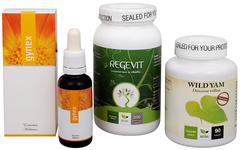 Sada Na Menstruaci - Natural Medicaments Regevit 200 tbl. + Gynex 30 ml + Wild Yam Premium 90 kapslí