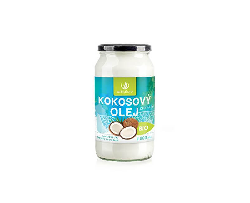 Allnature BIO Kokosový olej Premium 1000 ml - ZĽAVA - umastené ETIKETA