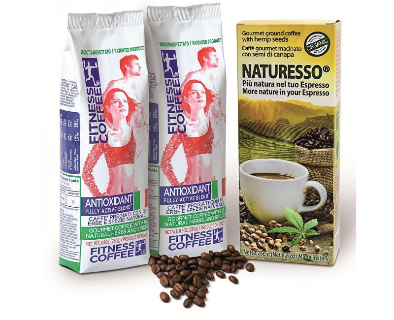 Zobrazit detail výrobku Monvitaly Dárkový balíček Fitness Coffee 2x250 g + Naturesso s konopným semínkem 250 g - SLEVA - POMAČKANÝ OBAL