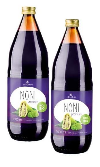 Allnature Noni Premium - 100% Bio šťava 1 + 1 ZD ARMA (500 ml + 500 ml) - ZĽAVA - poškodená etiketa