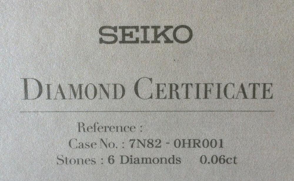 Seiko certifikát diamanty 1