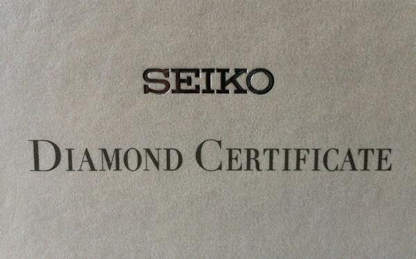 Seiko certifikát diamanty 2