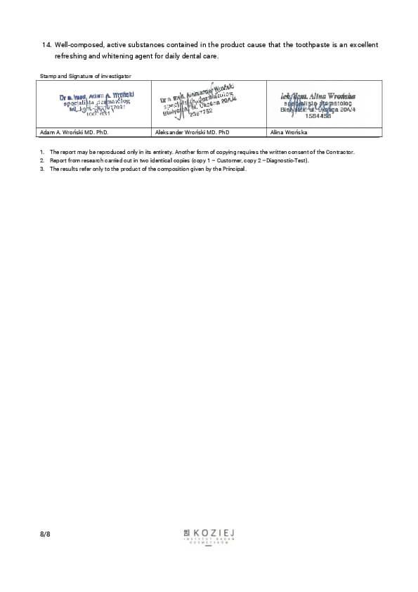Certifikát dermatologické studie zubní pasty