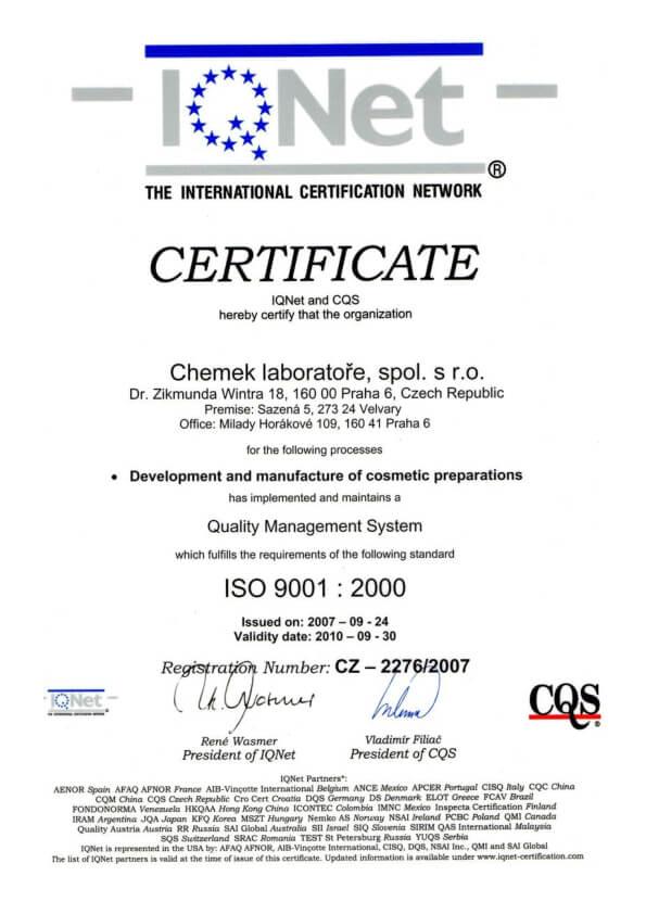 Certifikáty ISO 9001:2001 a ISO 9001:2000