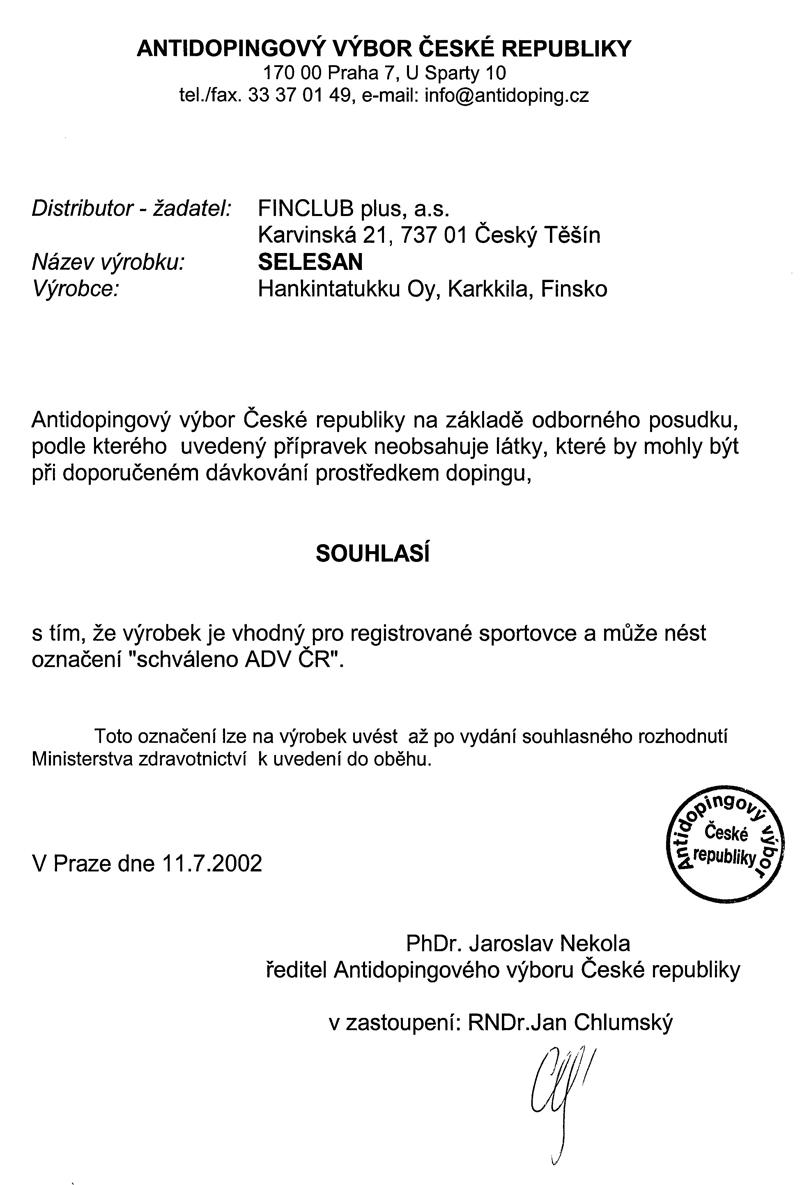 Schválrní Antidopingovým výborem ČR