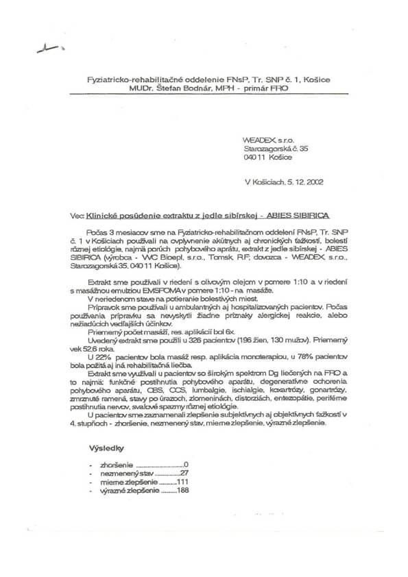 Klinická studie extraktu z jedle sibiřské