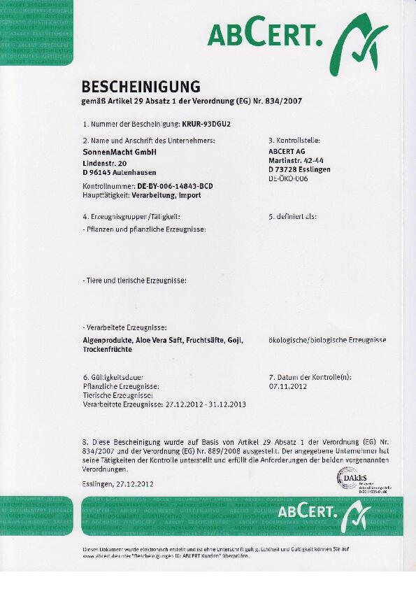Certifikát ABCert 2013