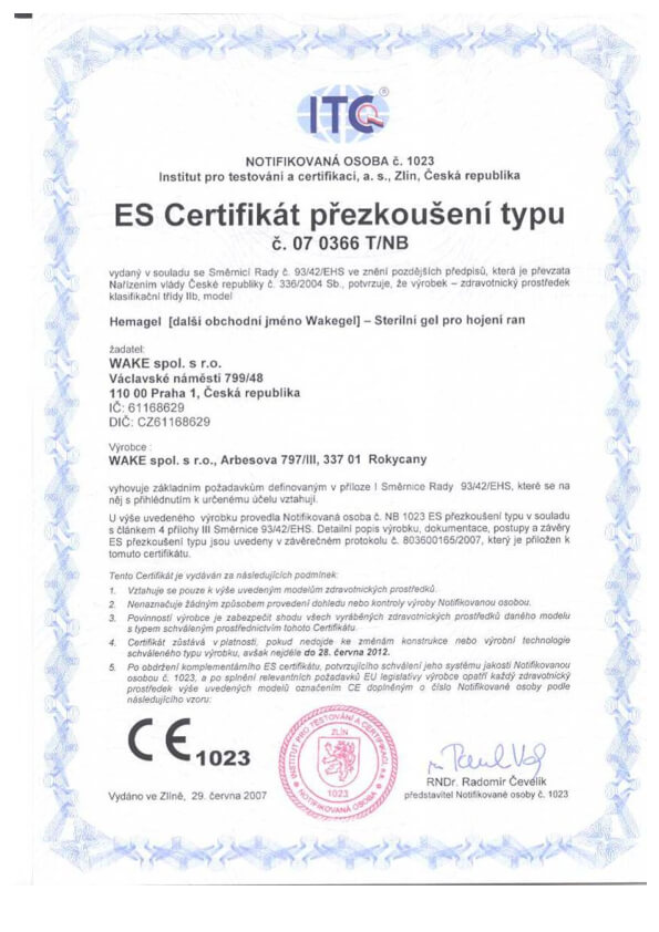 ES certifikát