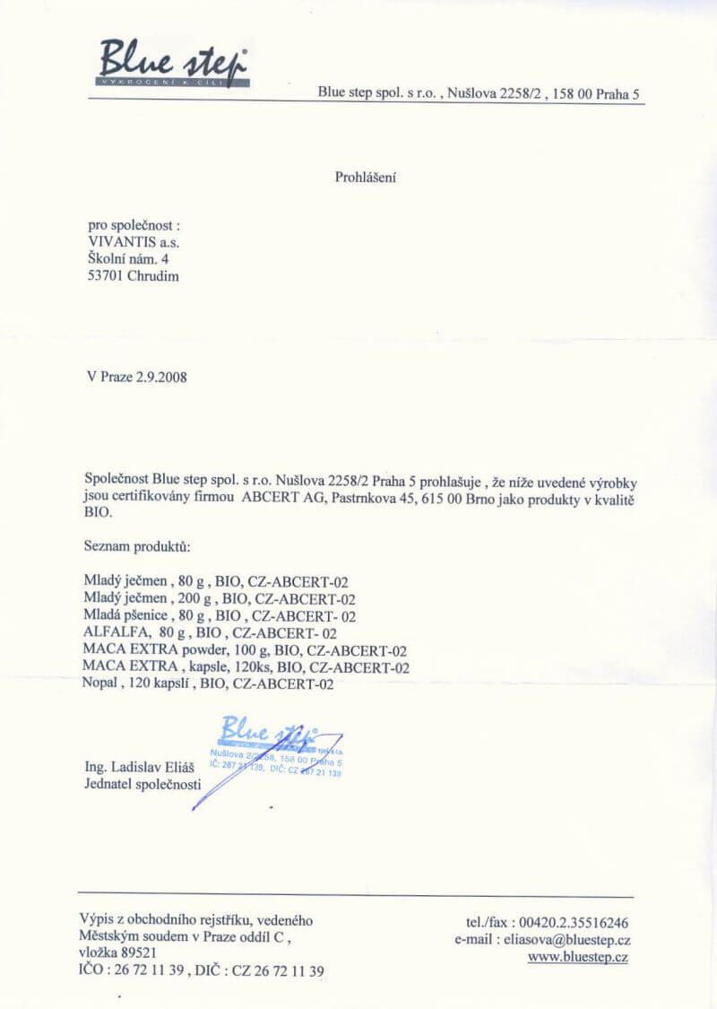 Prohlášení o certifikaci ABCert - produkty v BIO kvalitě