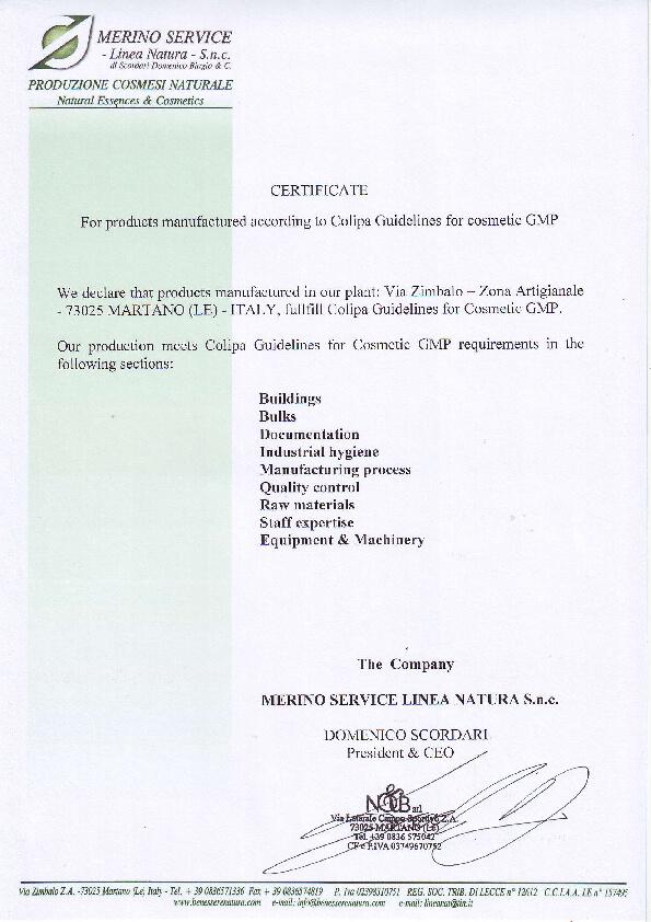 Colipa Certificate (GMP standard)