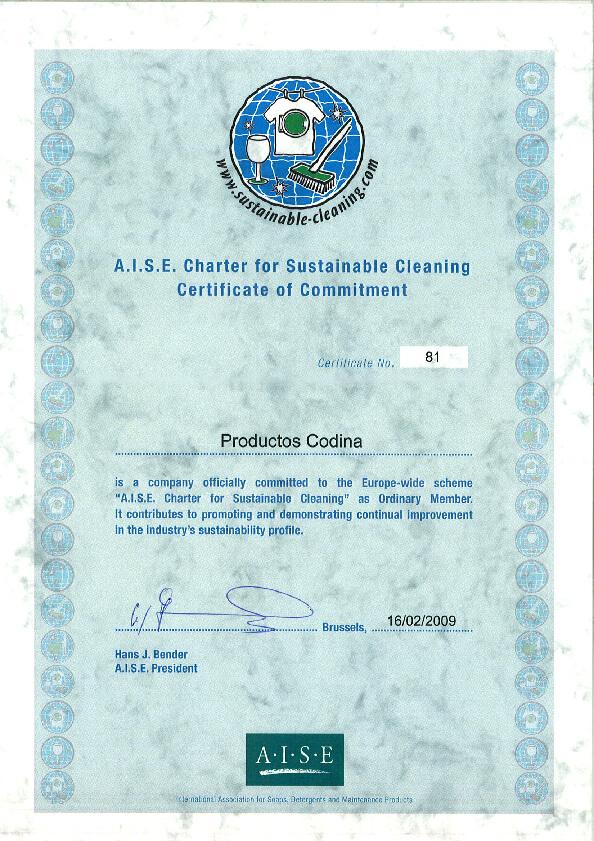 Certifikát A.I.S.E.