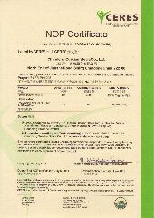 NOP Organic Certifikate