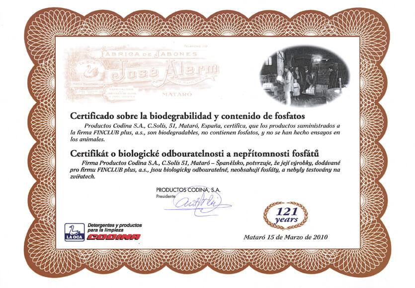 Certifikát o biologické odbouratelnosti