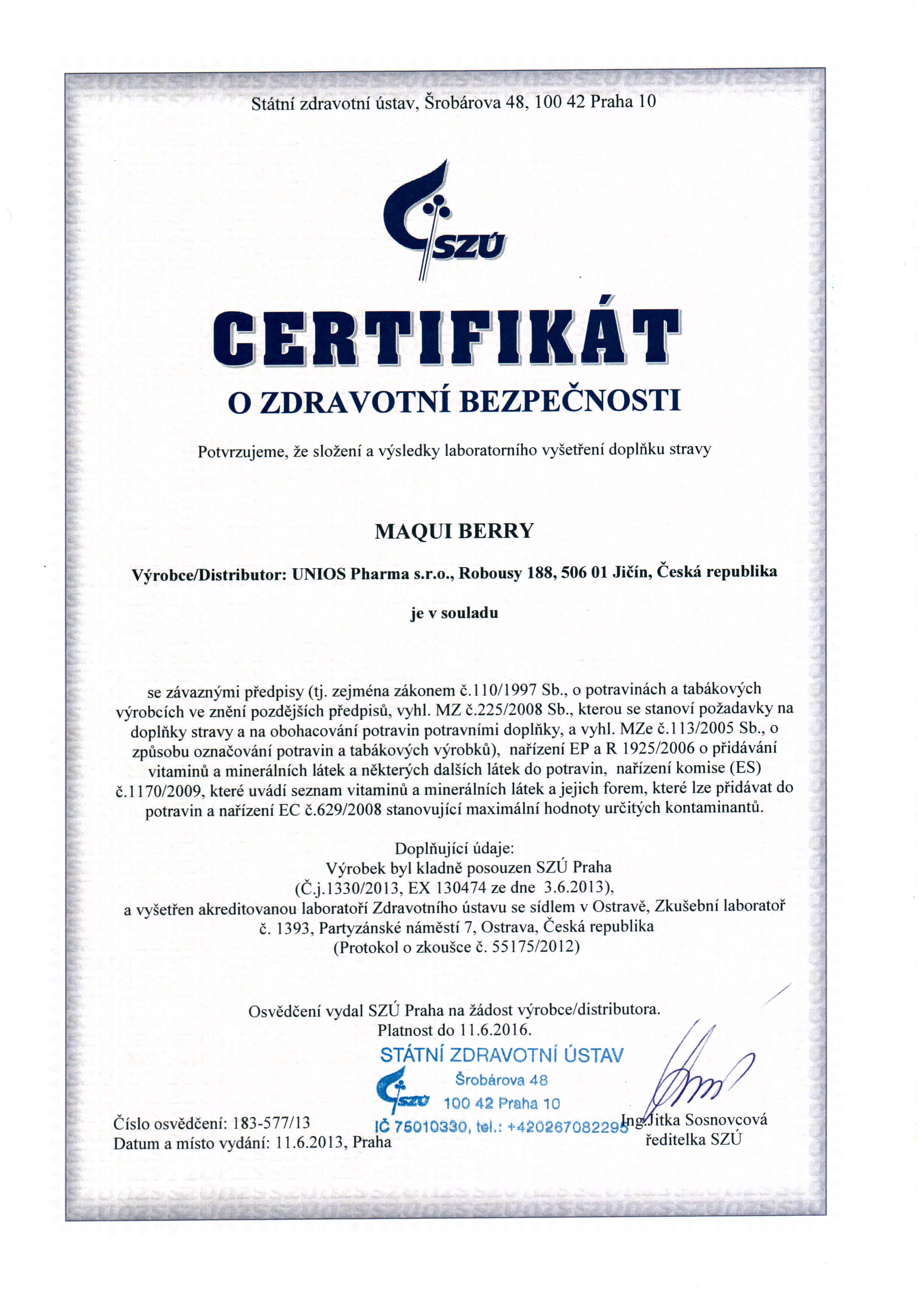 Certifikát Maqui 2013-1