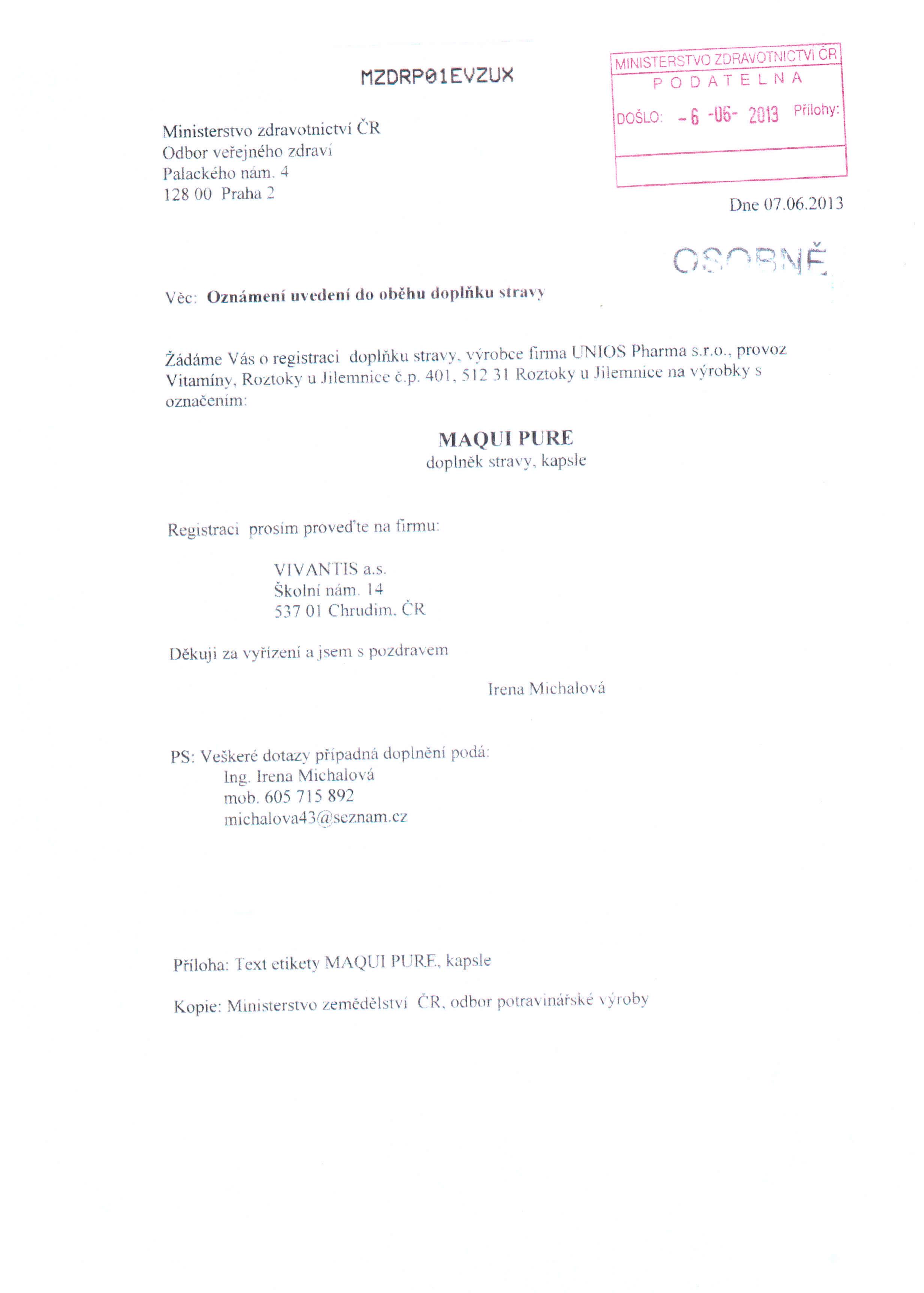 Certifikát Maqui 2013-2
