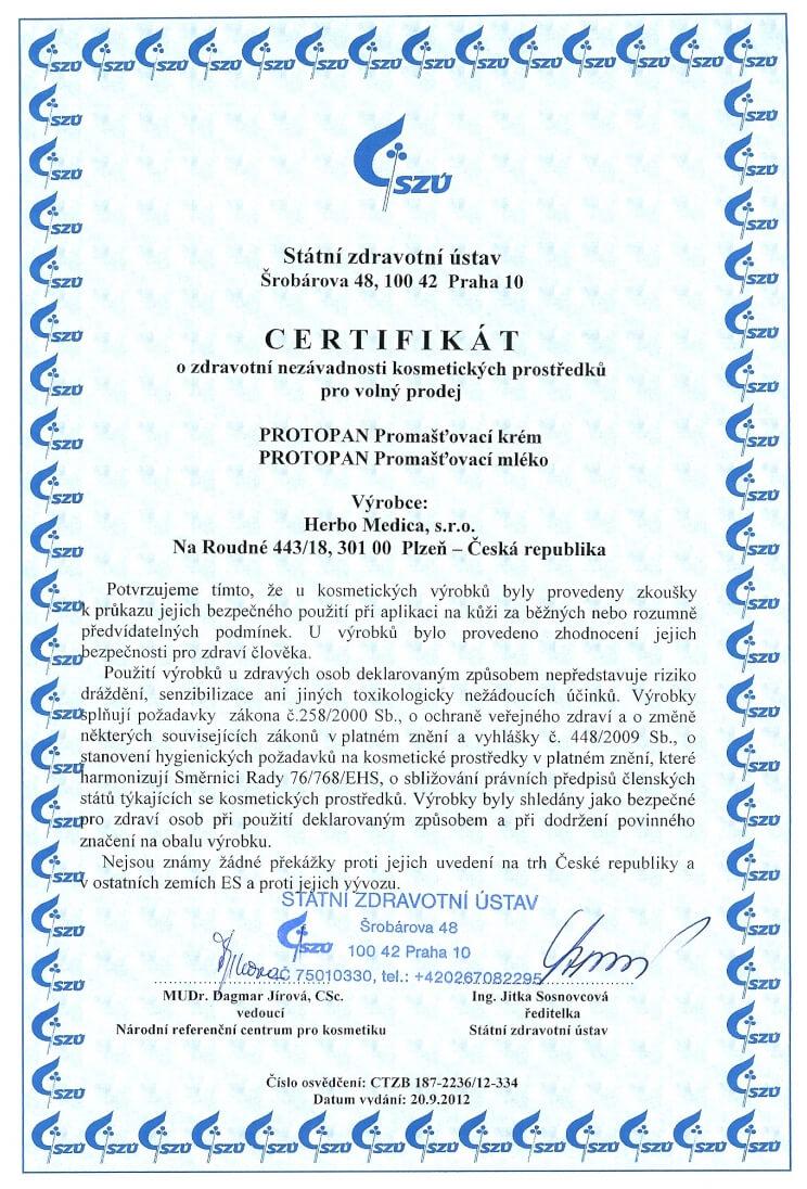 Certifikát SZU