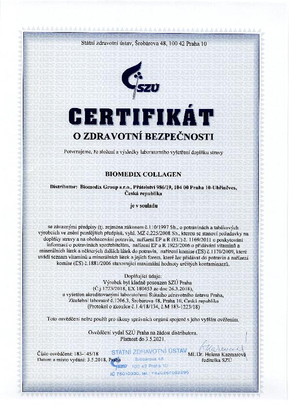 Certifikát o bezpečnosti produktu