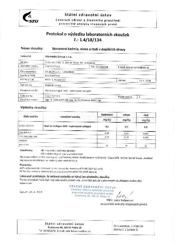 Protokol výsledku laboratorních zkoušek na těžké kovy