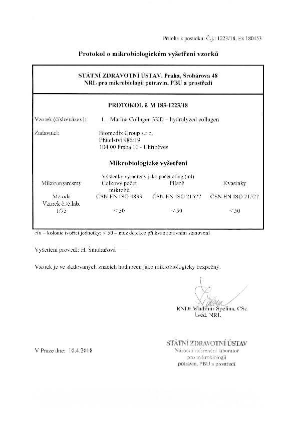 Protokol výsledku mikrobiologických zkoušek
