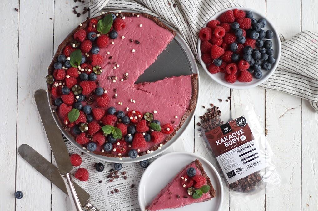 Malinový nepečený dort