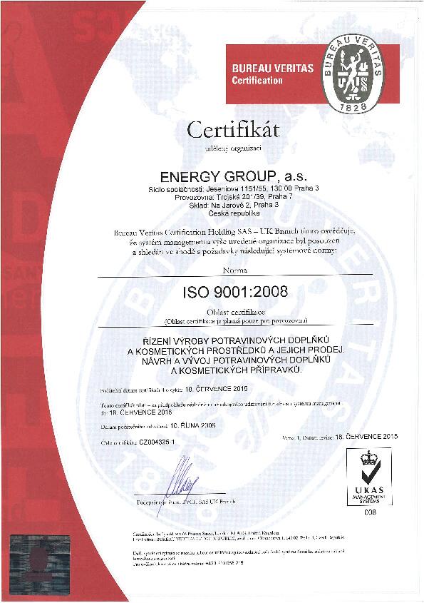 Certifikát ISO 9001:2008