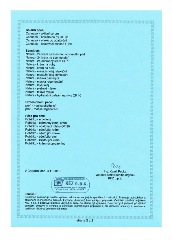 Certifikovaná přírodní kosmetika BIO