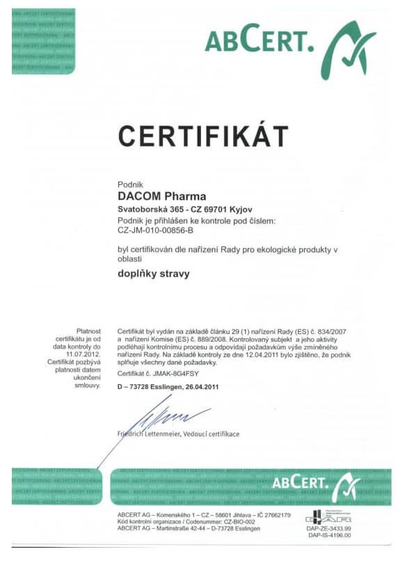 ABCert Certifikát pro ekologické produkty