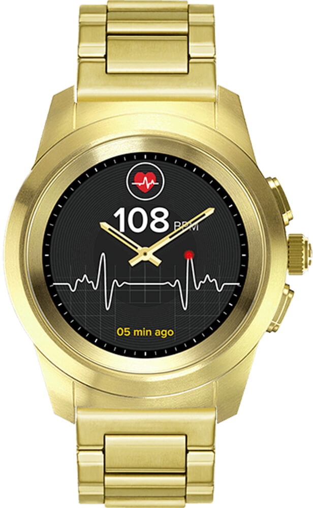 MyKronoz Hybridní hodinky ZeTime Elite Yellow Gold Metal - 44 mm ... 39ce8919757