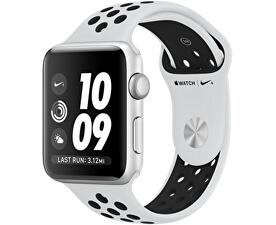 Watch Nike+ 42 mm stříbrný hliník s platinovým/černým Nike sportovním řemínkem