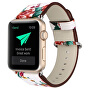 Kožený řemínek pro Apple Watch s motivem květin - Bílý 38/40 mm